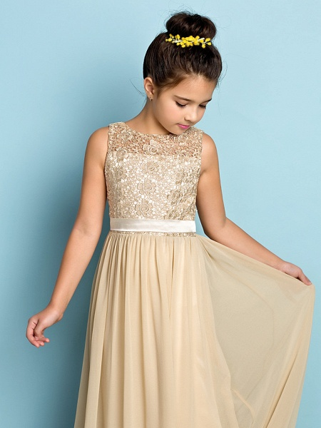 A-Line Scoop Neck Floor Length Chiffon / Lace Junior Bridesmaid Dress With Lace / Natural / Mini Me_7