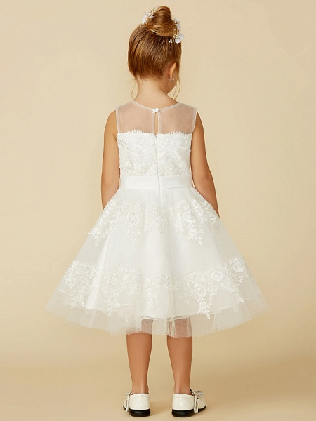 A-Line Tea Length Wedding / First Communion Flower Girl Dresses - Lace Sleeveless Jewel Neck With Lace / Sash / Ribbon_2