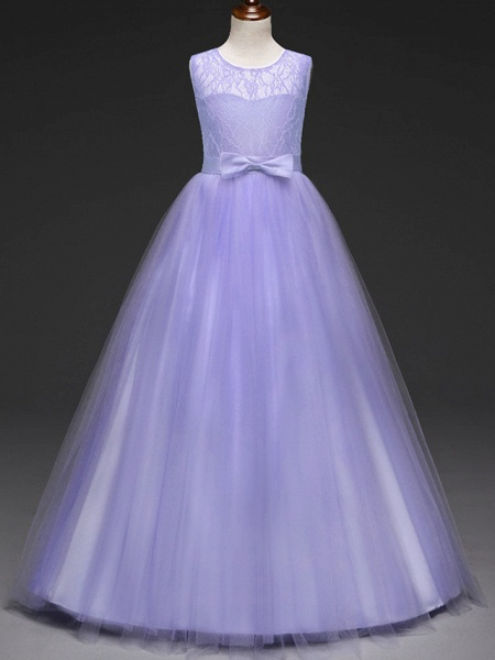 Ball Gown Floor Length Wedding / Party Flower Girl Dresses - Tulle Sleeveless Jewel Neck With Bow(S) / Solid_5
