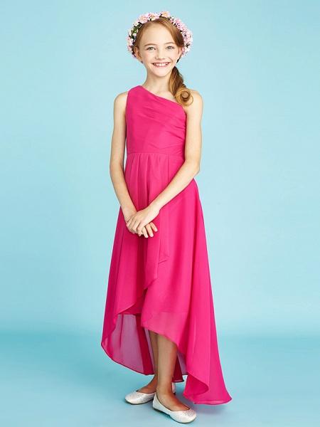 A-Line One Shoulder Asymmetrical Chiffon Junior Bridesmaid Dress With Sash / Ribbon / Bow(S) / Side Draping / Natural_5