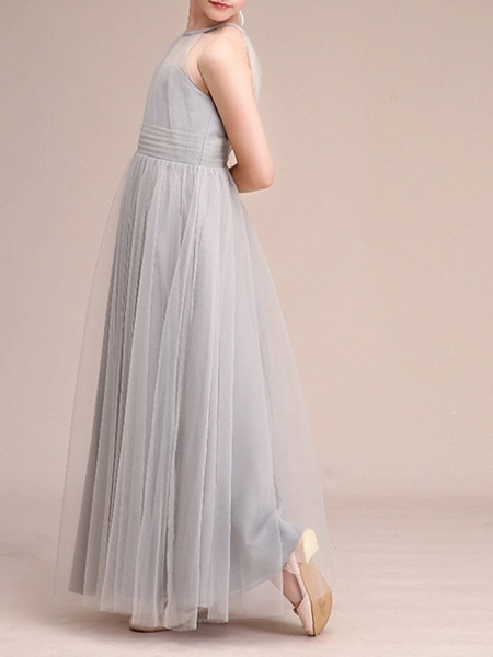 A-Line Floor Length Pageant Flower Girl Dresses - Polyester Sleeveless Halter Neck With Bow(S) / Pleats_4