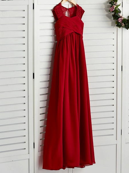 A-Line Square Neck Floor Length Chiffon Junior Bridesmaid Dress With Lace / Ruching_3