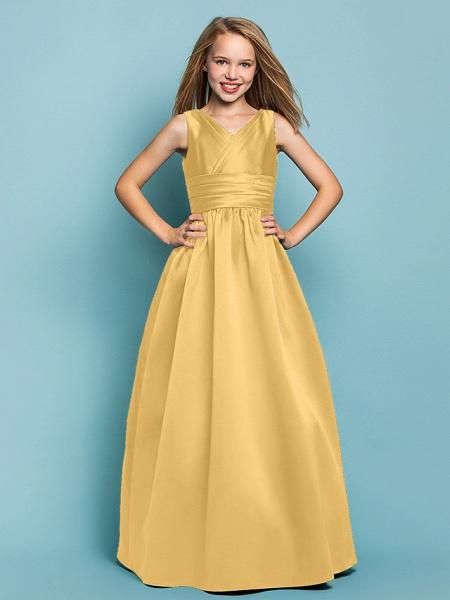 Princess / A-Line V Neck Floor Length Satin Junior Bridesmaid Dress With Sash / Ribbon / Criss Cross / Spring / Summer / Fall / Apple / Hourglass_21