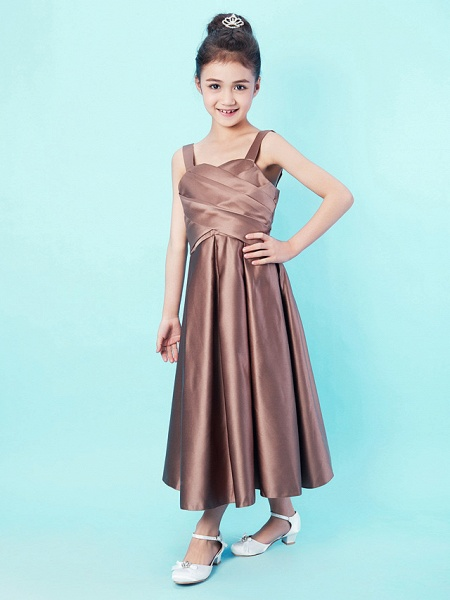 Princess / A-Line Straps / Sweetheart Neckline Tea Length Satin Junior Bridesmaid Dress With Criss Cross / Draping / Spring / Summer / Fall / Apple / Hourglass_3