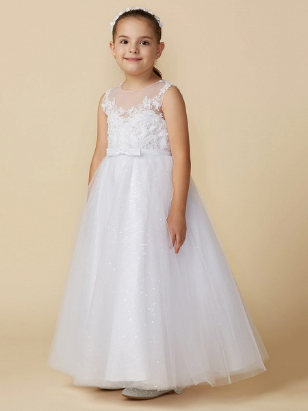 Princess Ankle Length Wedding / First Communion Lace / Tulle Sleeveless Boat Neck With Lace / Bow(S)_3