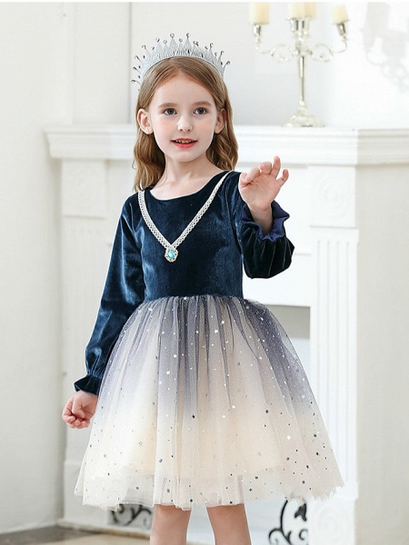 Princess / Ball Gown Knee Length Wedding / Party Flower Girl Dresses - Tulle / Velvet Long Sleeve Jewel Neck With Crystals / Paillette_6