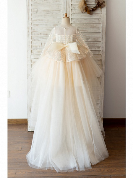 Ball Gown Sweep / Brush Train / Knee Length Wedding / Birthday Flower Girl Dresses - Tulle / Sequined Long Sleeve Jewel Neck With Bow(S)_2