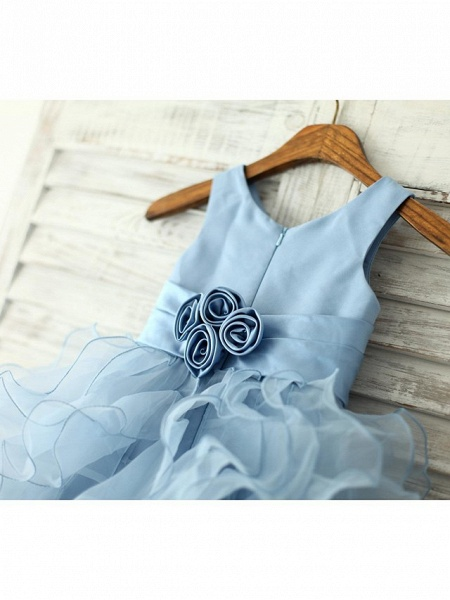 Princess / Sheath / Column Floor Length Pageant Flower Girl Dresses - Organza Sleeveless Jewel Neck With Sash / Ribbon / Flower_4