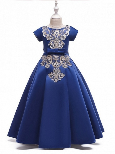 A-Line Round Floor Length Cotton Junior Bridesmaid Dress With Bow(S) / Appliques_7