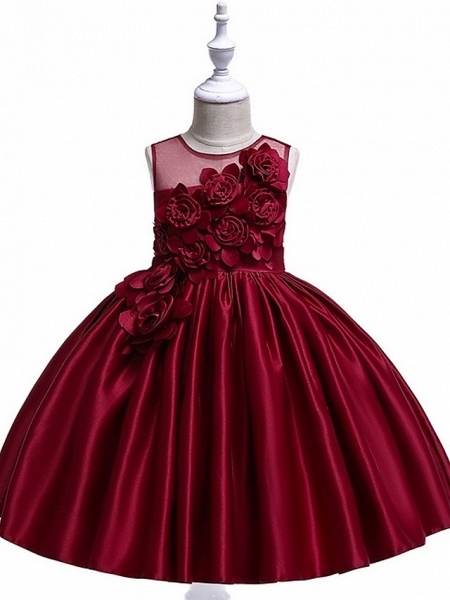 Princess / Ball Gown Knee Length Wedding / Party Flower Girl Dresses - Tulle Sleeveless Jewel Neck With Bow(S) / Pleats / Flower_7