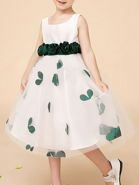 A-Line Knee Length Pageant Flower Girl Dresses - Polyester Sleeveless Scoop Neck With Bow(S) / Pattern / Print / Appliques_3