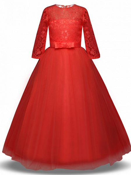 Princess Long Length Wedding / Party / Pageant Flower Girl Dresses - Lace / Tulle Half Sleeve Jewel Neck With Lace / Belt / Bow(S)_7
