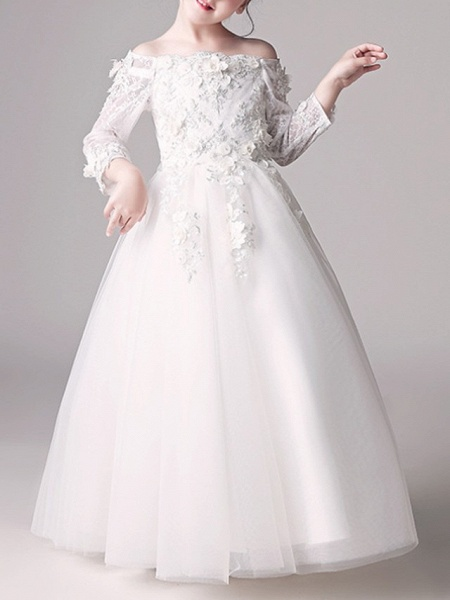 Ball Gown Floor Length First Communion Flower Girl Dresses - Polyester 3/4 Length Sleeve Off Shoulder With Appliques_3