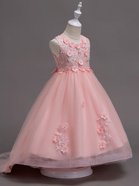 Princess Knee Length Flower Girl Dress - Lace / Tulle Sleeveless Jewel Neck With Appliques / Crystals / Lace By Lan Ting Express_6