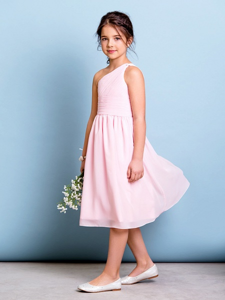 A-Line One Shoulder Knee Length Chiffon Junior Bridesmaid Dress With Ruched / Draping / Side Draping / Natural_3