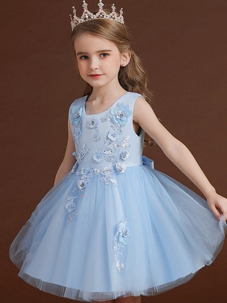 Princess / Ball Gown Knee Length Wedding / Party Flower Girl Dresses - Tulle / Satin Chiffon Sleeveless Jewel Neck With Bow(S) / Appliques_6
