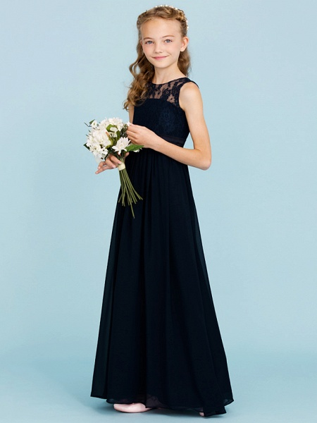 Princess / A-Line Crew Neck Floor Length Chiffon / Lace Junior Bridesmaid Dress With Sash / Ribbon / Pleats / Wedding Party / Open Back / See Through_6