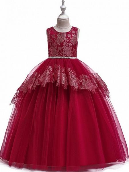 Princess Round Floor Length Cotton Junior Bridesmaid Dress With Bow(S) / Tier / Appliques_2