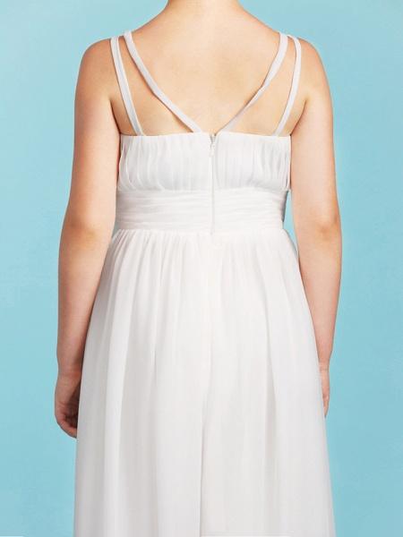 Princess / A-Line Spaghetti Strap Floor Length Chiffon Junior Bridesmaid Dress With Sash / Ribbon / Criss Cross / Wedding Party / Open Back_8