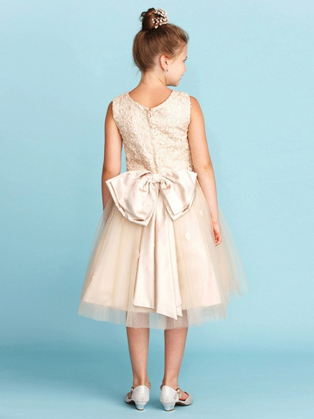 Princess / A-Line Jewel Neck Knee Length Lace / Tulle Junior Bridesmaid Dress With Bow(S) / Appliques / Wedding Party_2