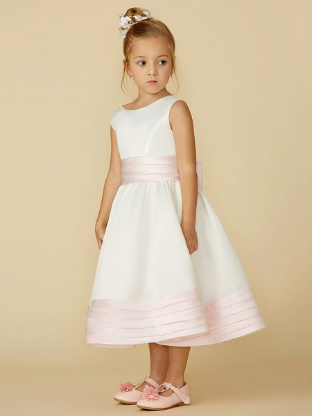 A-Line Tea Length Wedding / First Communion Flower Girl Dresses - Satin Sleeveless Jewel Neck With Sash / Ribbon / Bow(S)_5