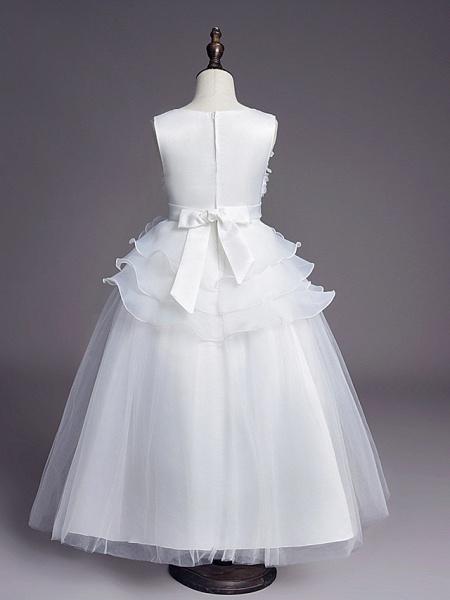 Princess Long Length Wedding / First Communion Flower Girl Dresses - Satin / Tulle Sleeveless Jewel Neck With Belt / Beading / Embroidery_2