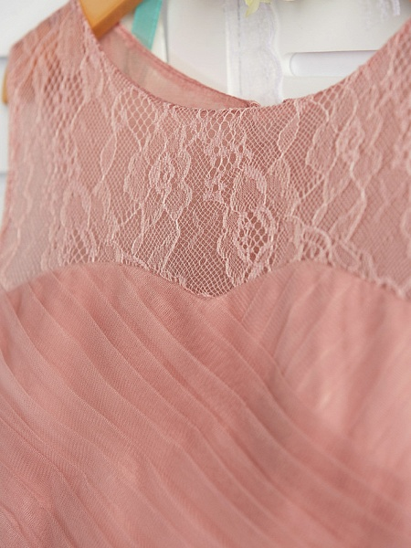 A-Line Crew Neck Maxi Lace / Tulle Junior Bridesmaid Dress With Lace / Pleats_7