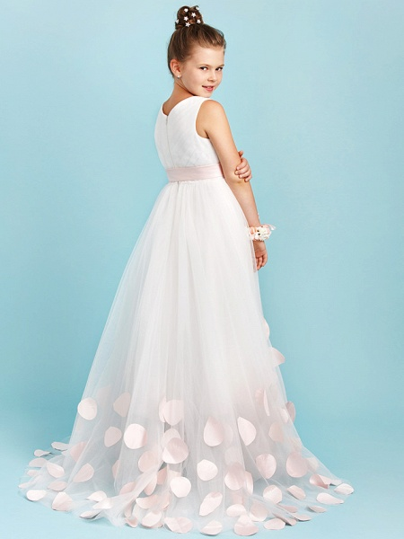Princess / A-Line V Neck Sweep / Brush Train Satin / Tulle Junior Bridesmaid Dress With Sashes / Ribbons / Bow(S) / Wedding Party_2