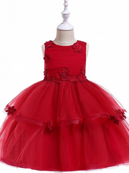 Ball Gown Floor Length Wedding / Party Flower Girl Dresses - Lace / Tulle Sleeveless Jewel Neck With Sash / Ribbon / Appliques_2