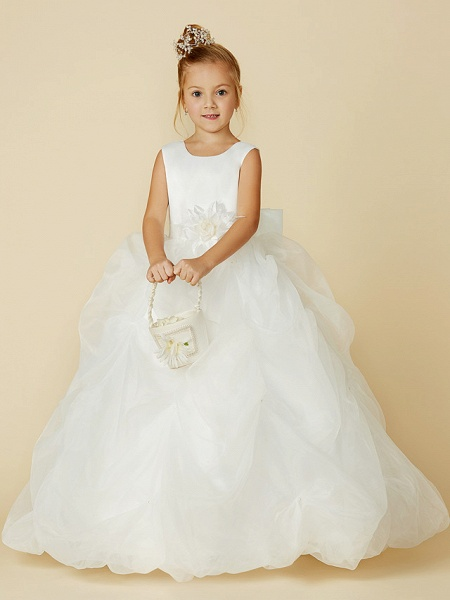 Ball Gown Floor Length Wedding / First Communion Flower Girl Dresses - Organza / Satin Sleeveless Jewel Neck With Sash / Ribbon / Bow(S) / Flower_5