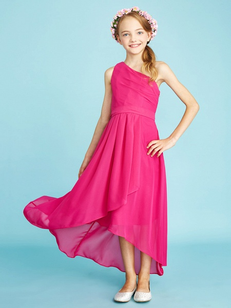 A-Line One Shoulder Asymmetrical Chiffon Junior Bridesmaid Dress With Sash / Ribbon / Bow(S) / Side Draping / Natural_7