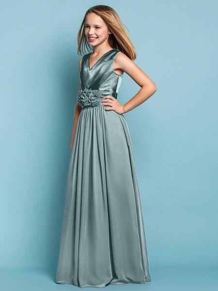 Sheath / Column V Neck Floor Length Chiffon Junior Bridesmaid Dress With Flower / Spring / Summer / Fall / Apple / Hourglass_13