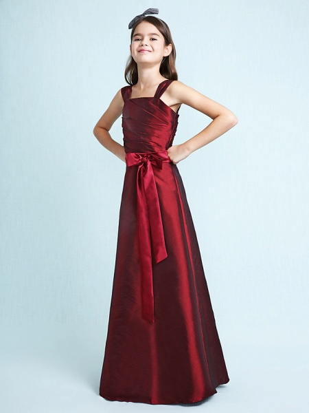 Princess / A-Line Straps Floor Length Taffeta Junior Bridesmaid Dress With Sash / Ribbon / Bow(S) / Ruched / Spring / Fall / Winter / Wedding Party / Natural_6