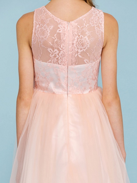 Princess / A-Line Crew Neck Floor Length Lace / Tulle Junior Bridesmaid Dress With Pleats / Wedding Party / See Through_8