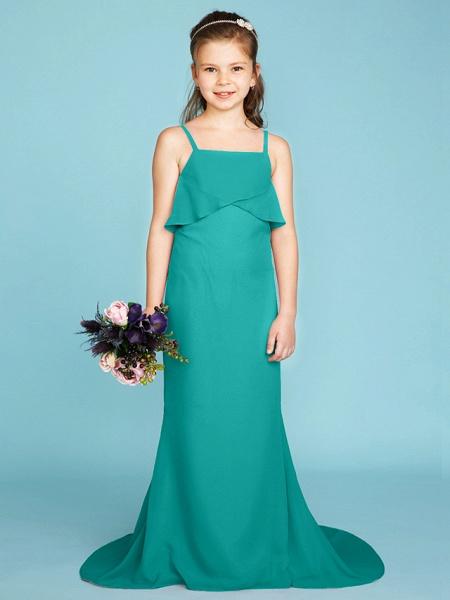 Sheath / Column Spaghetti Strap Sweep / Brush Train Chiffon Junior Bridesmaid Dress With Tiered / Wedding Party / Open Back_11
