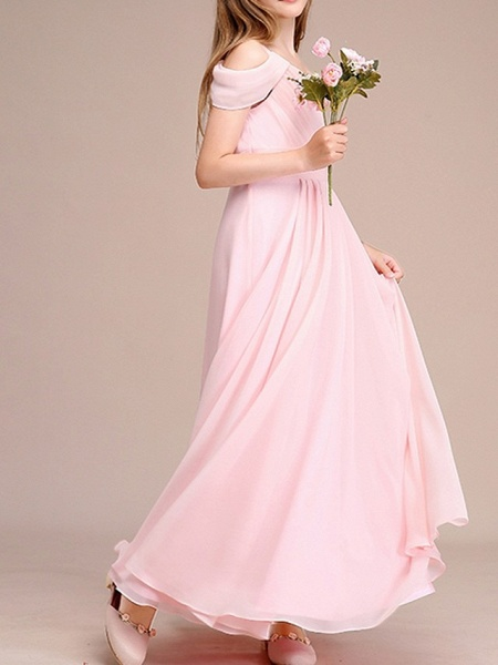 A-Line One Shoulder Ankle Length Chiffon Junior Bridesmaid Dress With Ruching_3