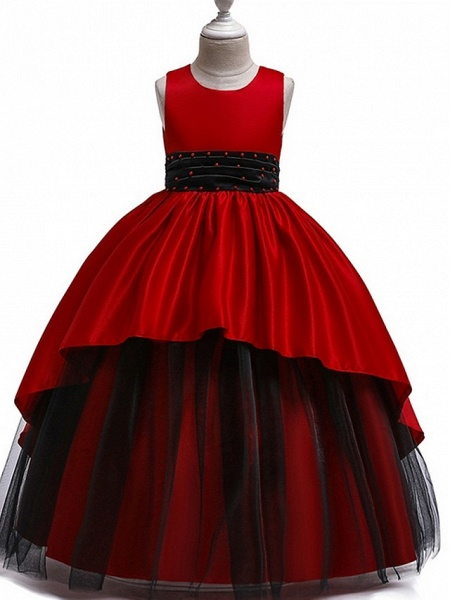 Princess Round Floor Length Cotton Junior Bridesmaid Dress With Bow(S) / Ruching_1