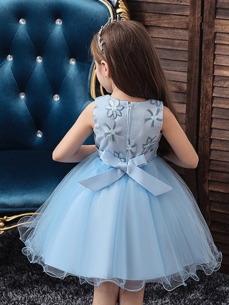 Princess / Ball Gown Floor Length Wedding / Party Flower Girl Dresses - Satin / Tulle Sleeveless Jewel Neck With Bow(S) / Appliques_4