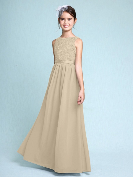 Sheath / Column Bateau Neck Floor Length Chiffon / Lace Junior Bridesmaid Dress With Lace / Natural_22