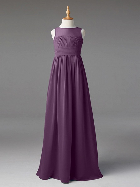Princess / A-Line Jewel Neck Floor Length Chiffon Junior Bridesmaid Dress With Sash / Ribbon / Pleats_28