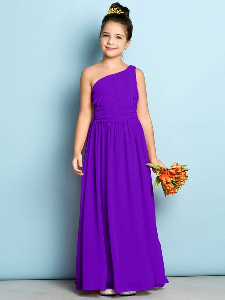 A-Line One Shoulder Ankle Length Chiffon Junior Bridesmaid Dress With Side Draping / Natural / Mini Me_36