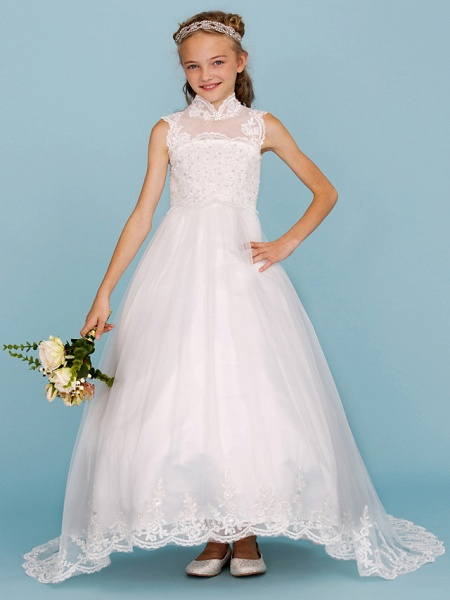 Ball Gown High Neck Sweep / Brush Train Lace / Satin Junior Bridesmaid Dress With Beading / Appliques / Wedding Party_3