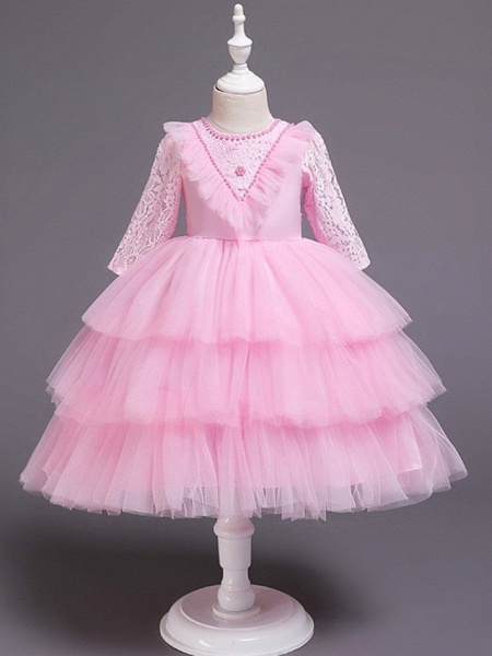 Princess / Ball Gown Knee Length Wedding / Party Flower Girl Dresses - Tulle Long Sleeve Jewel Neck With Bow(S) / Beading / Embroidery_3