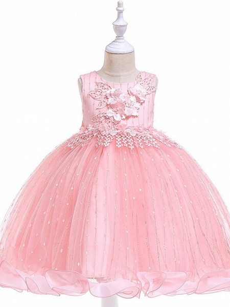 Princess / Ball Gown Knee Length Wedding / Party Flower Girl Dresses - Tulle Sleeveless Jewel Neck With Bow(S) / Beading / Appliques_12