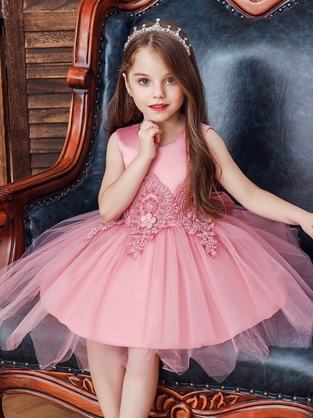 Princess / Ball Gown Knee Length Wedding / Party Flower Girl Dresses - Lace / Satin / Tulle Sleeveless Jewel Neck With Appliques_3