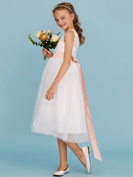 Princess / A-Line Crew Neck Tea Length Lace / Tulle Junior Bridesmaid Dress With Sash / Ribbon / Pleats / Wedding Party / Open Back / See Through_3
