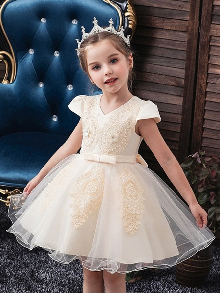 Princess / Ball Gown Knee Length Wedding / Party Flower Girl Dresses - Tulle Short Sleeve V Neck With Sash / Ribbon / Bow(S) / Appliques_1