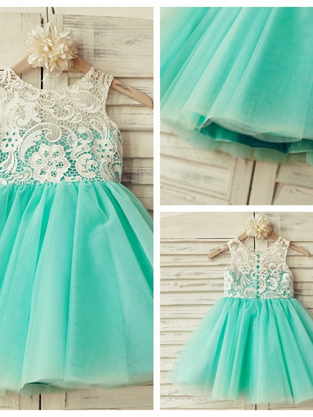 A-Line Knee Length Pageant Flower Girl Dresses - Lace / Tulle Sleeveless Jewel Neck With Lace / Pleats_4