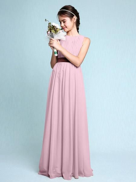 Sheath / Column Scoop Neck Floor Length Chiffon Junior Bridesmaid Dress With Draping / Natural_11