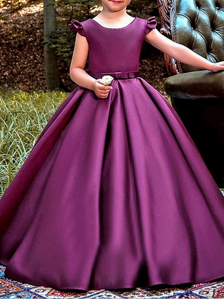 A-Line Floor Length Pageant Flower Girl Dresses - Polyester Cap Sleeve Jewel Neck With Ruching_2